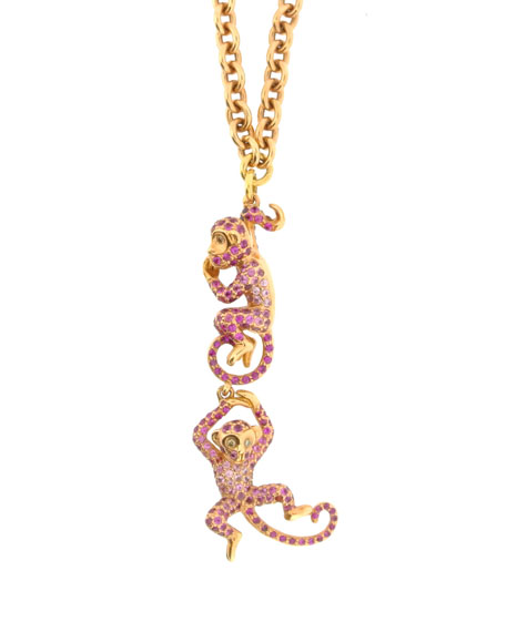 Wendy Yue 18k Rose Gold Diamond & Sapphire Monkey Necklace