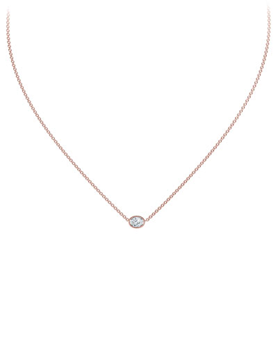 18k Rose Gold Diamond Solitaire Necklace