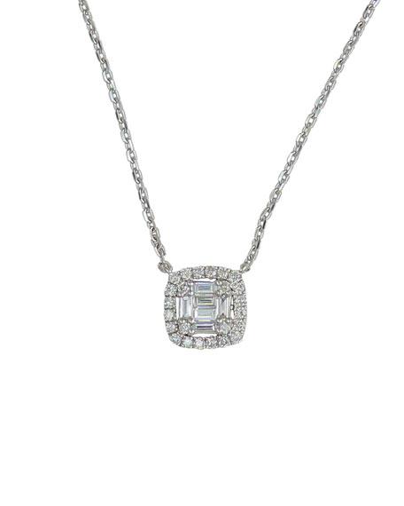 Frederic Sage 18k White Gold Diamond Cushion Pendant