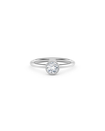 18K White Gold Beaded Diamond Ring  Size 7