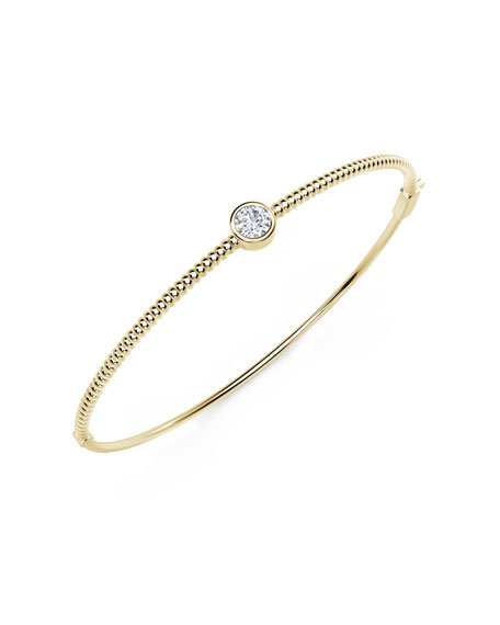 Image 2 of 3: Forevermark 18K Yellow Gold Beaded Diamond Bangle Bracelet