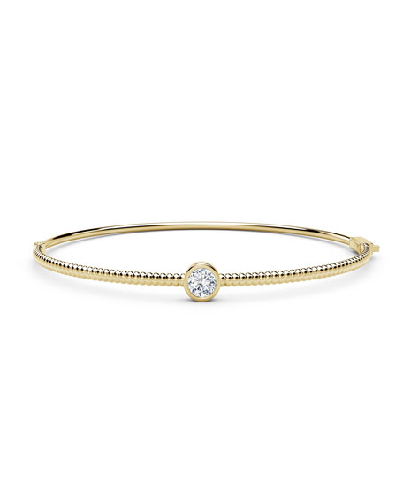 Image 1 of 3: Forevermark 18K Yellow Gold Beaded Diamond Bangle Bracelet