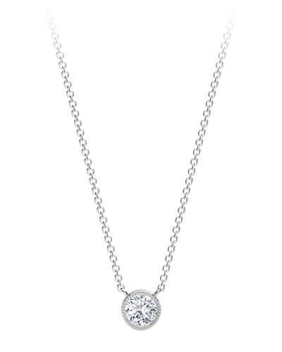 18K White Gold Beaded Diamond Pendant Necklace