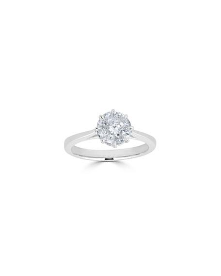 ZYDO 18k White Gold Mosaic Round Diamond Ring, 0.74 tcw, Size 7