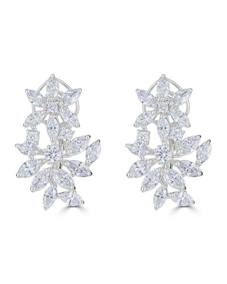 Zydo 18K LUMINAL DIAMOND FLOWER HUGGIE HOOP EARRINGS, 5.88TCW