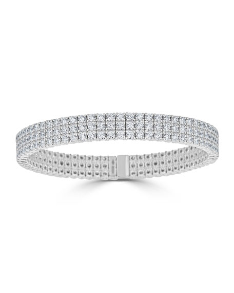 ZYDO Diamond 3-Row Stretch Bracelet in 18k White Gold