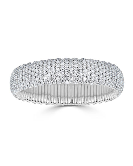 ZYDO Stretch 18k White Gold & Wide Diamond Bracelet, 19.36tcw