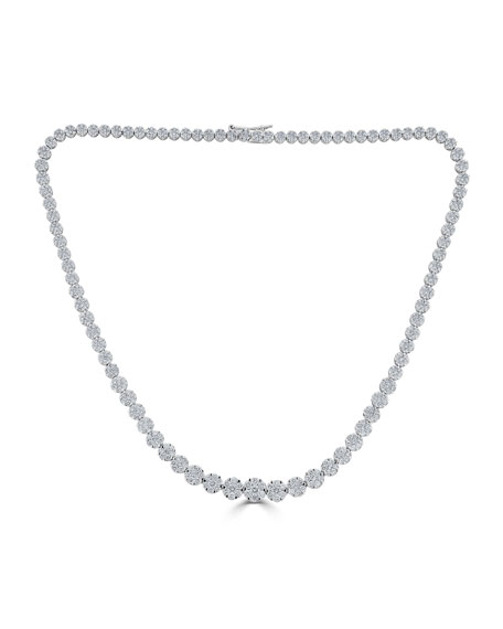 ZYDO 18k Mosaic Graduating Diamond Necklace, 11.29tcw