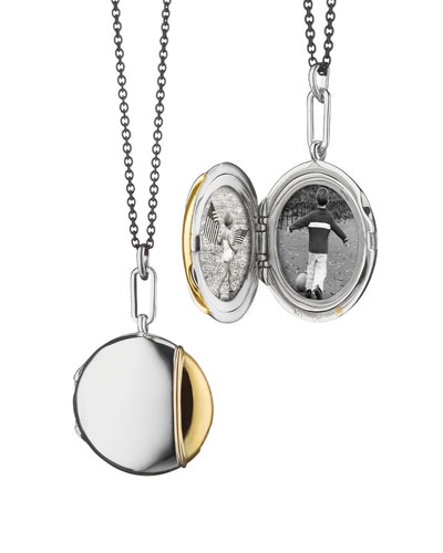 Silver & 18k Yellow Gold Round Locket Necklace  32
