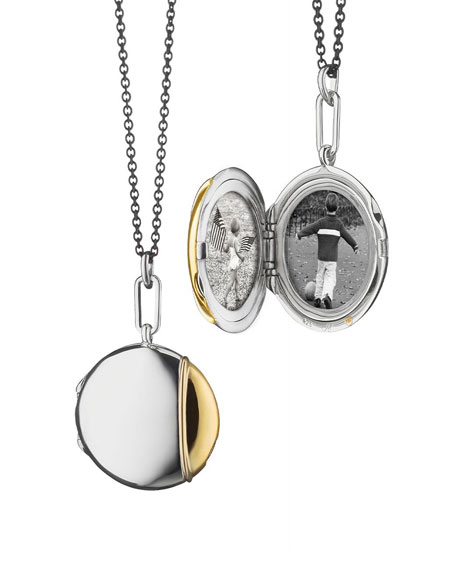 Monica Rich Kosann Silver & 18k Yellow Gold Round Locket Necklace, 32""
