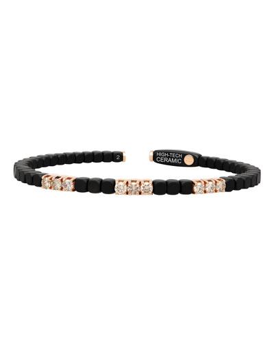 Dado 18k Rose Gold  Ceramic & Nine Diamond Bracelet