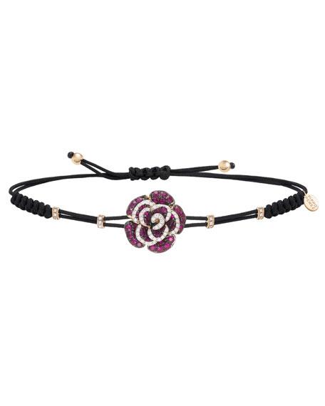Pippo Perez 18k Rose Gold Rose Diamond & Ruby Bracelet