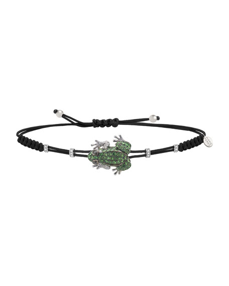 Image 1 of 1: Pull-Cord Bracelet with Green Garnet Frog & Diamond Rondelles