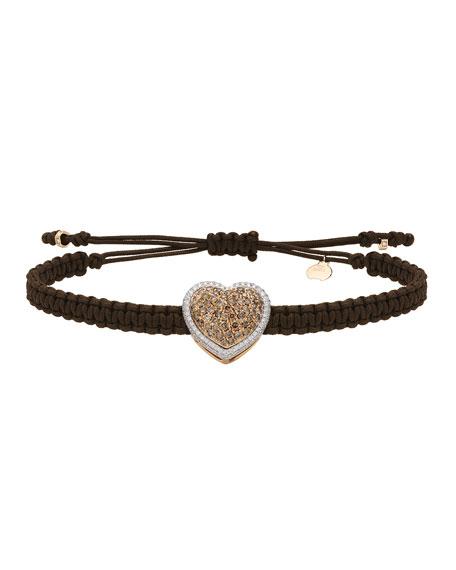 Pippo Perez 18k Brown & White Diamond Heart Pull-Cord Bracelet