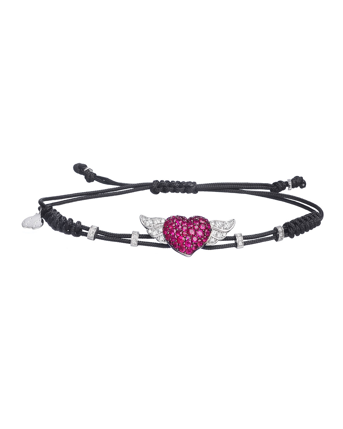 Pippo Perez 18k Diamond & Ruby Winged Heart Pull-Cord Bracelet