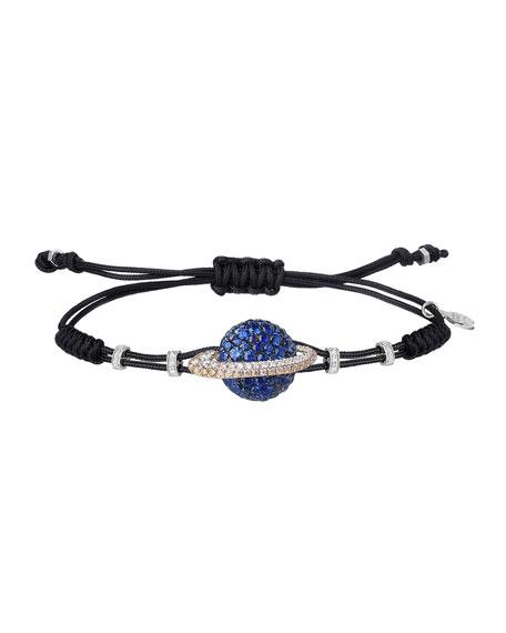 Pippo Perez 18k Diamond & Sapphire Saturn Pull-Cord Bracelet