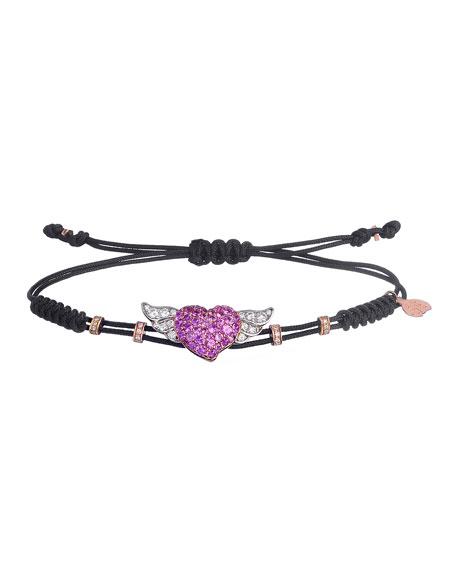 Pippo Perez 18k Pink Gold Diamond & Sapphire Winged Heart Bracelet