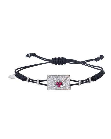 Pippo Perez 18k White Gold, Diamond & Ruby Envelope Pull-Cord Bracelet