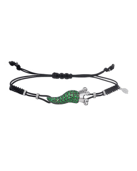 Pippo Perez 18k Gold Diamond & Garnet Medium Pepper Crown Pull-Cord Bracelet