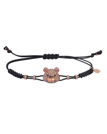 Pippo Perez 18k Pink Gold Brown & White Diamond Toy Bear Pull-Cord Bracelet