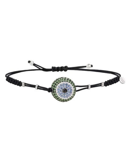 Pippo Perez 18k White Gold Fatima Diamond/Sapphire/Garnet Bracelet