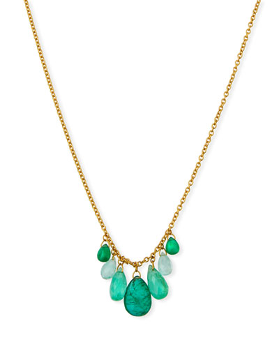 Delicate Dew Emerald Cluster Necklace