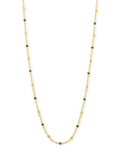 Delicate Hue Long Black Diamond Necklace