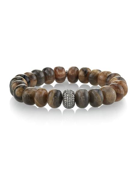 Sheryl Lowe Sunstone & Single Diamond Donut Bracelet