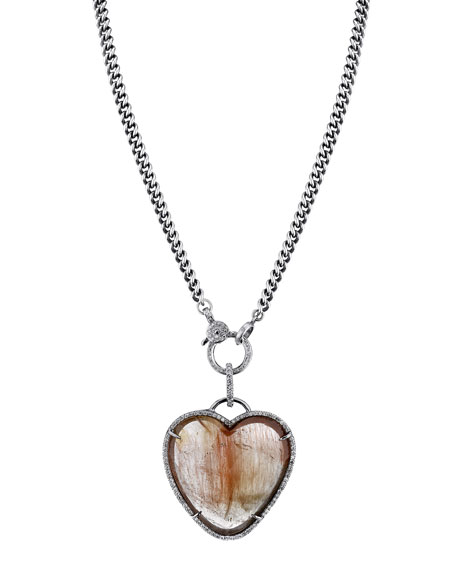 Sheryl Lowe Rutilated Quartz Heart Pendant Necklace