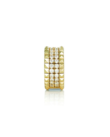 Roberto Coin 18k Gold Diamond & Stud Ring, Size 6.5