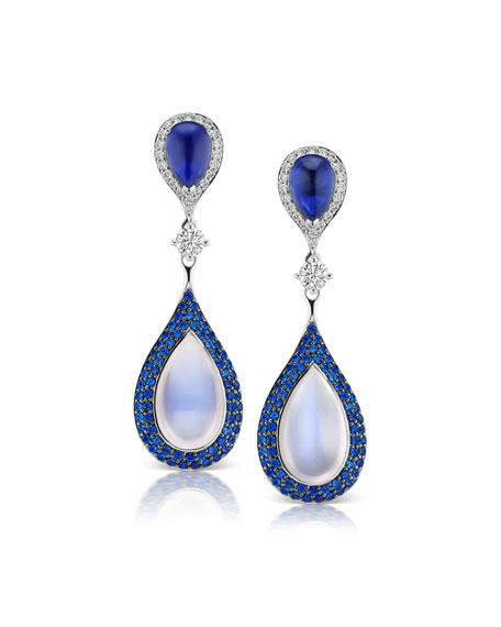 Maria Canale 18k White Gold Diamond, Sapphire & Moonstone Earrings