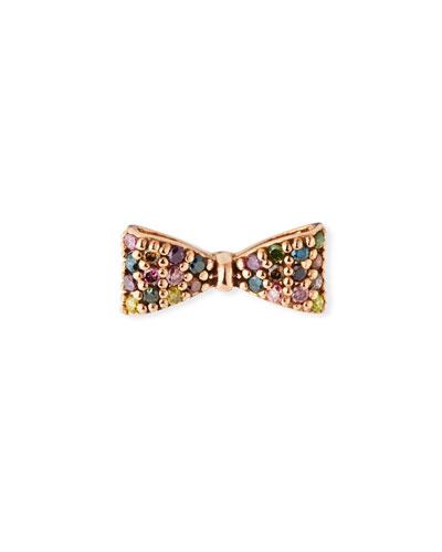 14k Rose Gold Rainbow Diamond Bow Earring (Single)