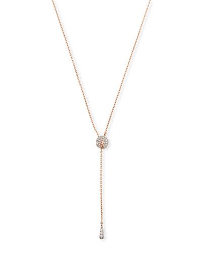 14k Rose Gold Diamond Circle Lariat Necklace