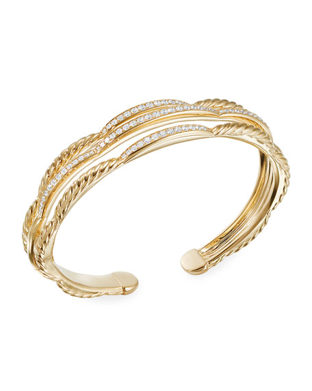 David Yurman TIDES 18K GOLD 3-ROW DIAMOND CUFF BRACELET