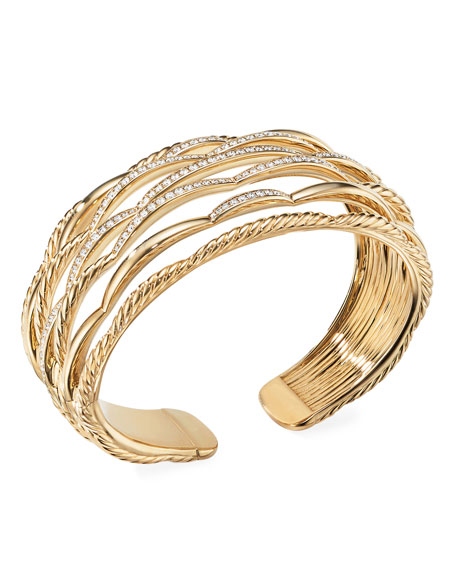 David Yurman TIDES 18K GOLD 7-ROW DIAMOND CUFF BRACELET