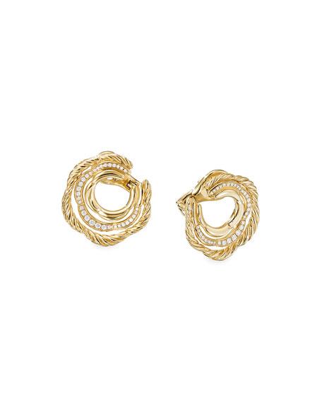 David Yurman Tides 18k Gold Diamond Huggie Hoop Earrings