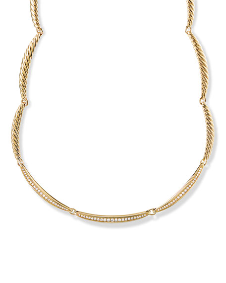 David Yurman Tides Single Row Necklace in 18K Yellow Gold with Diamonds