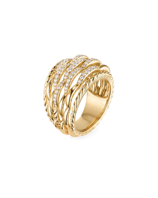 Amf Bz david yurman tides 18k gold woven diamond ring, size 7 and