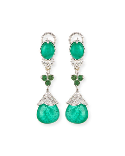 18k White Gold Emerald & Tsavorite Drop Earrings
