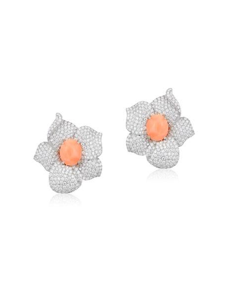 Andreoli 18k White Gold, Diamond & Coral Flower Earrings