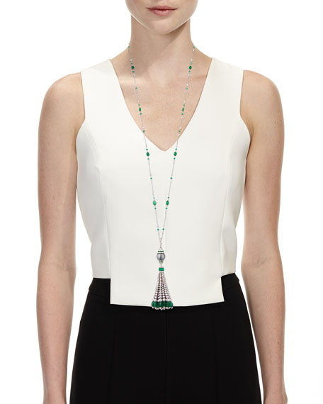 Image 2 of 2: Andreoli 18k White Gold Emerald, Diamond & Pearl Tassel Necklace