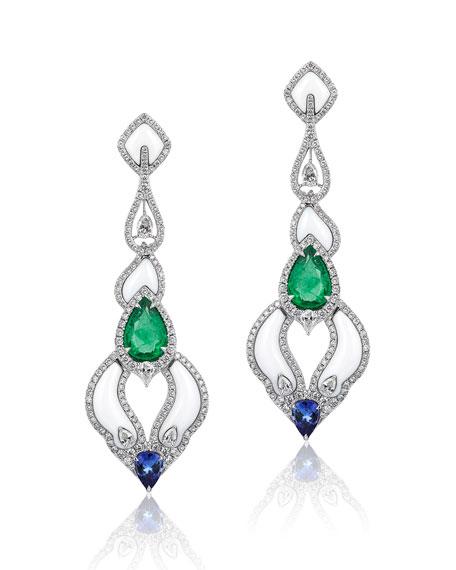Andreoli 18k White Gold Diamond & Mixed Stone Earrings