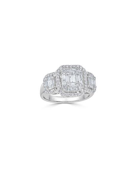 ZYDO Mosaic 18k White Gold Diamond Octagon-Trio Ring, Size 6.5
