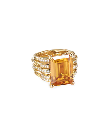 David Yurman TIDES 18K GOLD DIAMOND & CITRINE WIDE RING