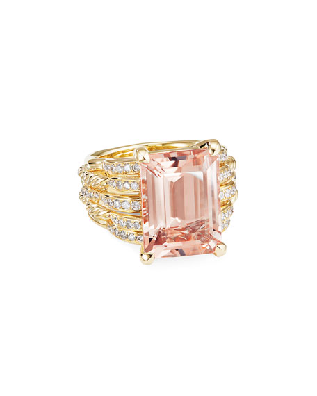 David Yurman TIDES 18K GOLD DIAMOND & MORGANITE WIDE RING