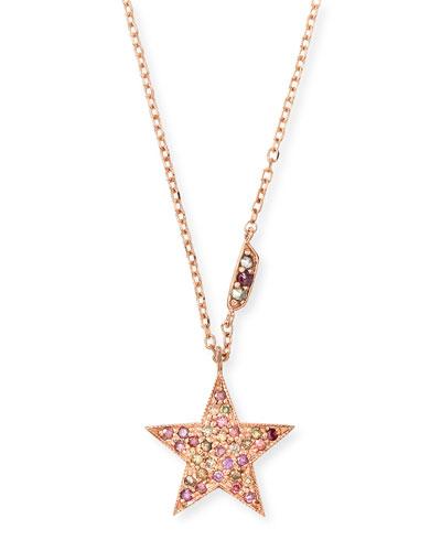 14k Rose Gold Pink Diamond Star Pendant Necklace