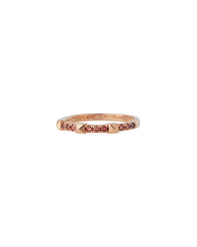 14k Rose Gold Pink Diamond & Pyramid Stackable Ring, Size 6.5