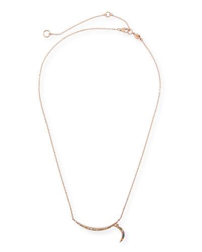 14k Rose Gold Rainbow Diamond Crescent Moon Necklace