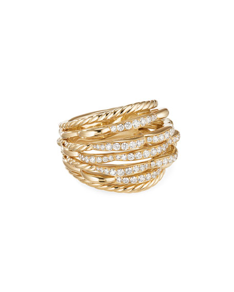 David Yurman TIDES 18K GOLD DOME DIAMOND RING