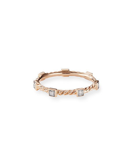 David Yurman CABLE COLLECTIBLES STACKING BAND RING W/ DIAMONDS IN 18K ROSE GOLD